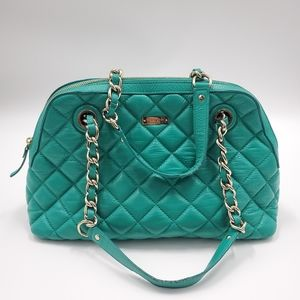 Kate Spade Quilted Leather Bag Silver Chain Straps